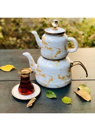 Arow Dufy Beyaz Mermer Emaye Çaydanlık Renkli